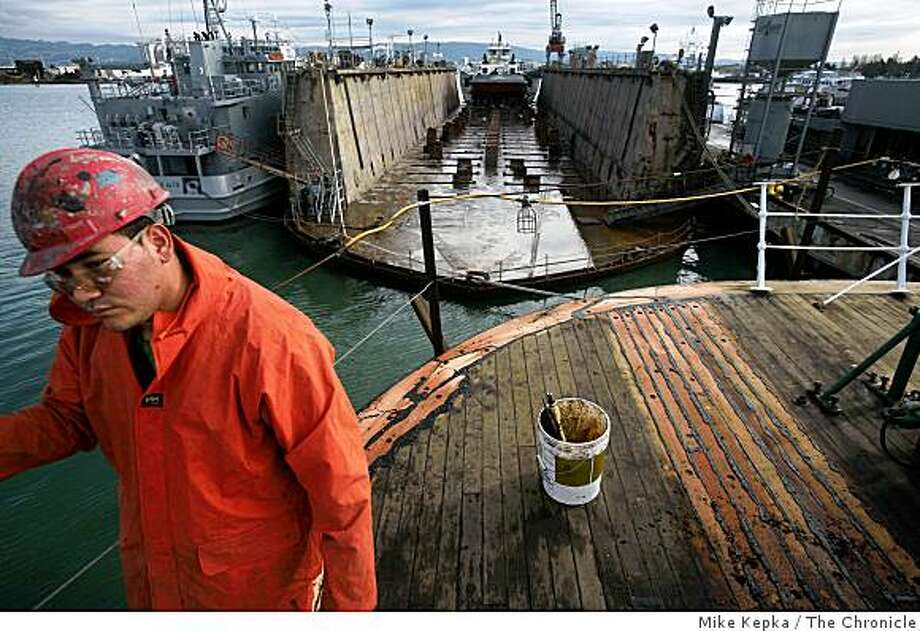 Jaira Ventura walks on deck of the Balclutha. Photo: Mike Kepka, The Chronicle