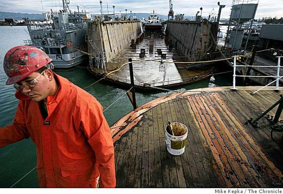 Jaira Ventura walks on deck of the Balclutha. Photo: Mike Kepka, The Chronicle