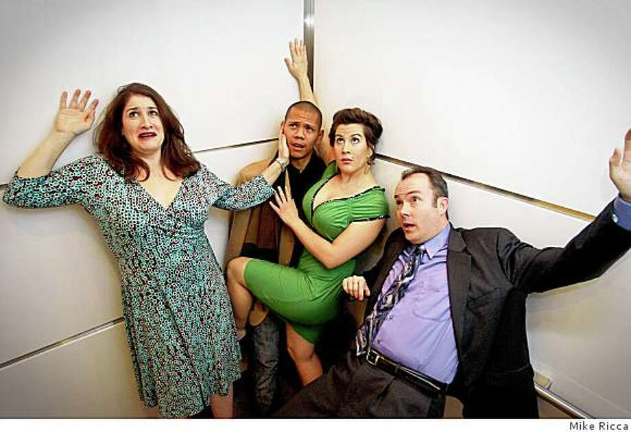 """Dana Lewenthal (left), Aaron Niles, Jolene Saiyad and Frederik Goris in Mike Ricca's """"Stuck"""" at Three Wise Monkeys' Bay Area One-Acts Festival Photo: Mike Ricca"""