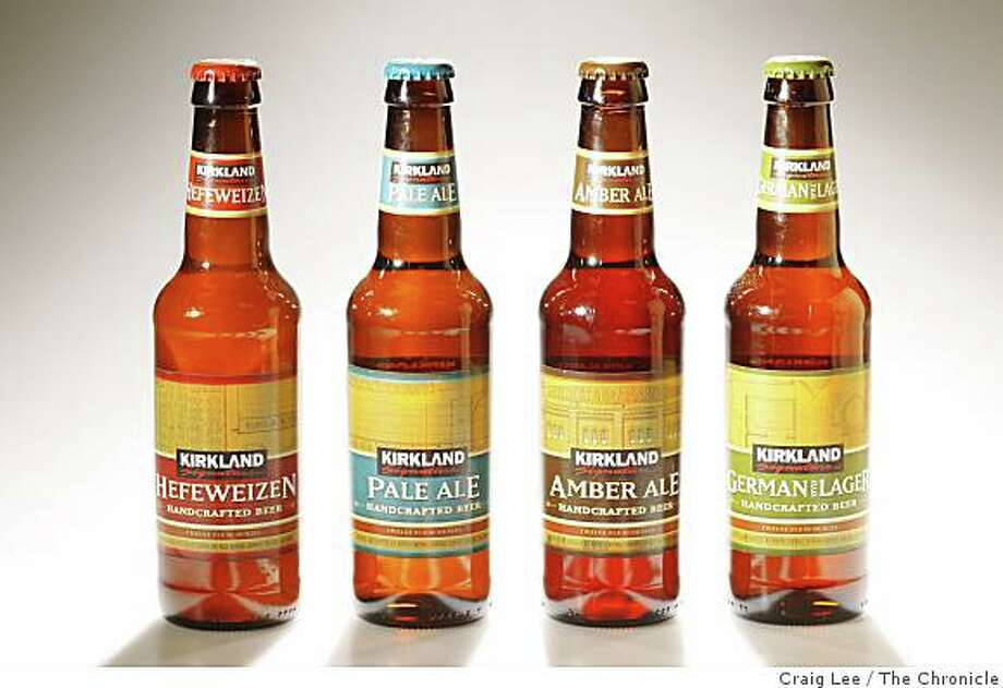 Kirkland Signature craft beer, (left-right) Hefeweizen, Pale Ale, Amber, and German Lager in San Francisco, Calif., on January 22, 2009. Photo: Craig Lee, The Chronicle