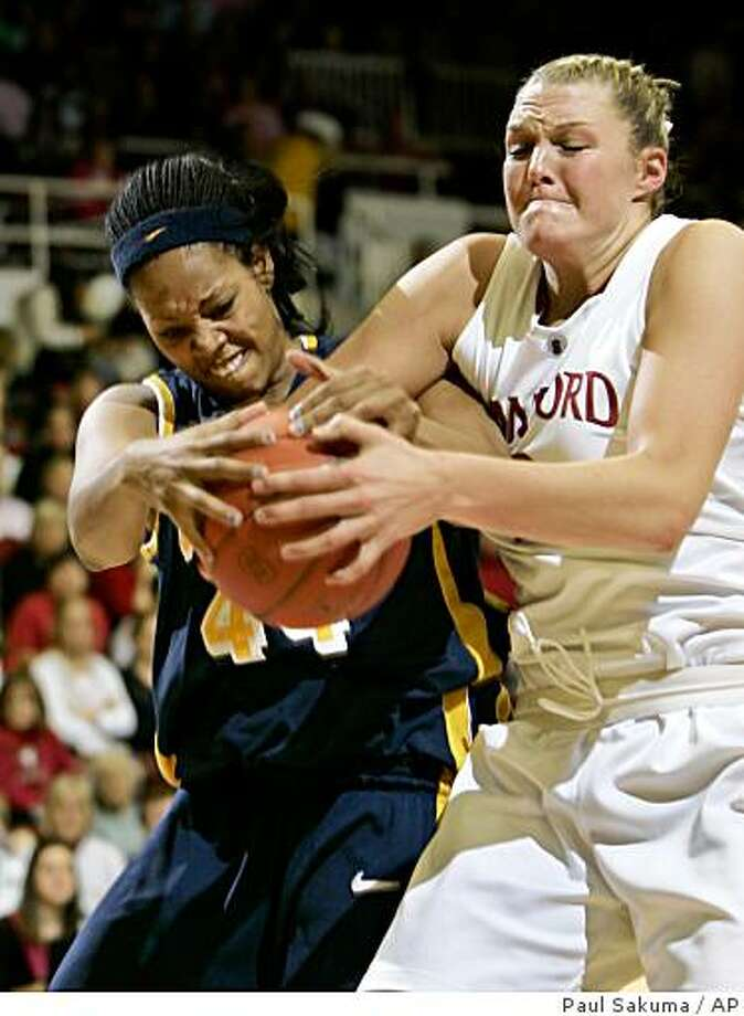 Stanford's Jayne Appel, right, and California forward Ashley Walker fight for ball in the first half of an NCAA college basketball game in Stanford, Calif., Saturday, Feb. 14, 2009. (AP Photo/Paul Sakuma) Photo: Paul Sakuma, AP