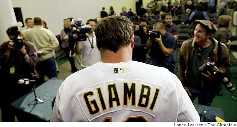 Oakland Athletics' Jason Giambi talks with the media after speaking at a news conference in Oakland, Calif., Wednesday, Jan. 7, 2009. Giambi and the Athletics finalized a one-year contract with an option Wednesday, bringing the free-agent back to Oakland. Photo: Lance Iversen, The Chronicle
