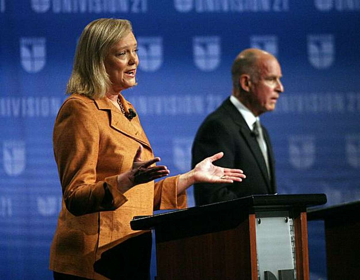 FRESNO, CA - OCTOBER 2: California Republican gubernatorial candidate and former eBay CEO Meg Whitman (L) addresses an issue while her opponent California attorney general and Democratic gubernatorial candidate Jerry Brown awaits his turn during the second of three scheduled televised debates at Fresno State October 2, 2010 in Fresno, California. With just a few weeks before the election, California gubernatorial candidates Meg Whitman, Republican, and Jerry Brown, Democrat, faced off in their second debate as polls show the two candidates are nearly tied. Some of the debate focused on Whitman's former housekeeper's claims that Whitman employed her while knowing about her illegal immigration status.