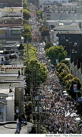 Thousands of runners clog Hayes Street in San Francisco, Calif., on May 20, 2007, during the 96th annual Bay to Breakers. Photo: Brant Ward, The Chronicle