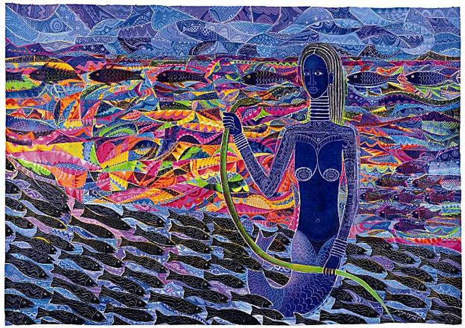 """Mami Wata"" (1999) acrylic on canvas by Moyo Ogundipe Photo: Don Cole, Cantor Arts Center, Stanford"