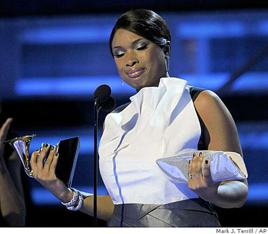 Jennifer Hudson get emotional as she accepts the award for best R&B album for ?Jennifer Hudson? at the 51st Annual Grammy Awards on Sunday, Feb. 8, 2009, in Los Angeles. (AP Photo/Mark J. Terrill) Photo: Mark J. Terrill, AP