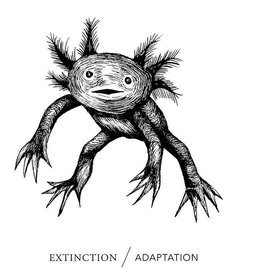 "This illustration is the cover of a book called ""Extinction/Adaptation,"" which spotlights some of the things that are going extinct or ways in which humans are adapting to a changed environment. Photo: Images Courtesy Of Adam Werbach"