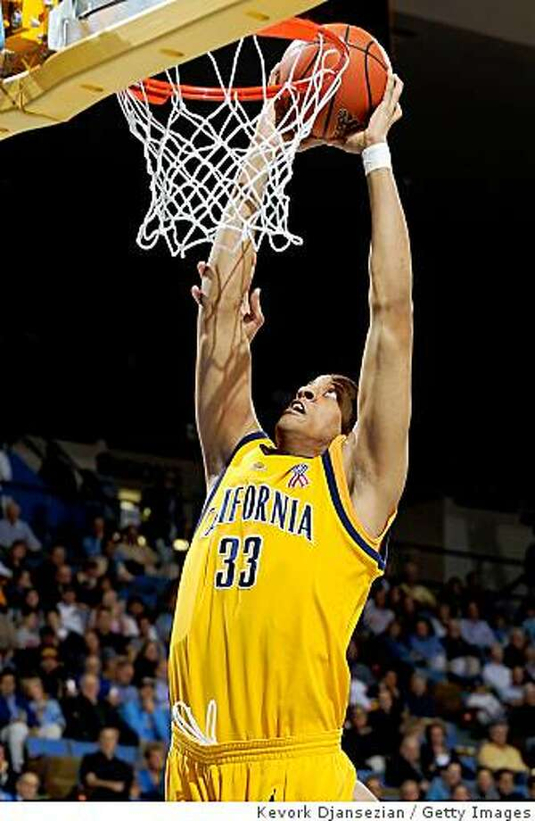 WESTWOOD, CA - JANUARY 29:  Jordan Wilkes #33 of the University of California Golden Bears slams the ball against the UCLA Bruins during the first half of the game at Pauley Pavilion January 29, 2009 in Westwood, California.  (Photo by Kevork Djansezian/Getty Images) Photo: Kevork Djansezian, Getty Images
