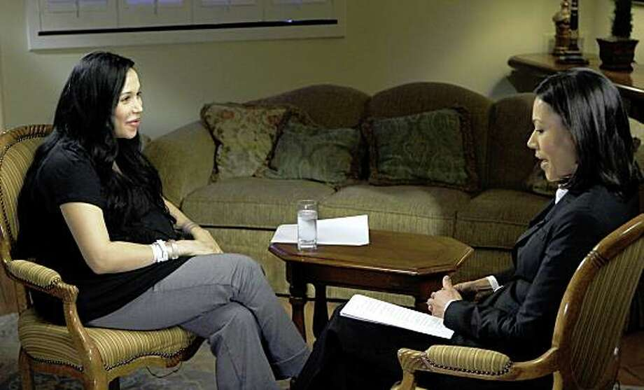 "This image provided by NBC shows Nadya Suleman, left, speaking with Ann Curry in New York, in Suleman's first interview since giving birth to octuplets last week. The interview is planned to be broadcast on the ""Today"" show on Monday, Feb. 9 and ""Dateline"" on Tuesday, Feb. 10. (AP Photo/NBC, Paul Drinkwater) ** NO SALES ** Photo: Paul Drinkwater, AP"