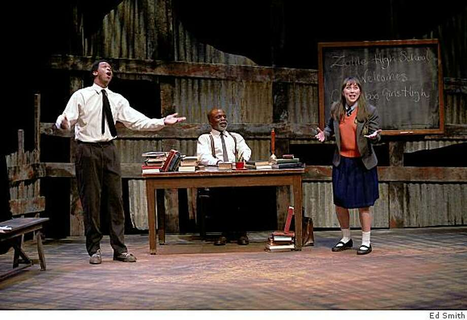 "Lloyd Roberson II (left), L. Peter Callender and Laura Morache in ""My Children! My Africa!"" at Marin Theatre Company. Photo: Ed Smith"