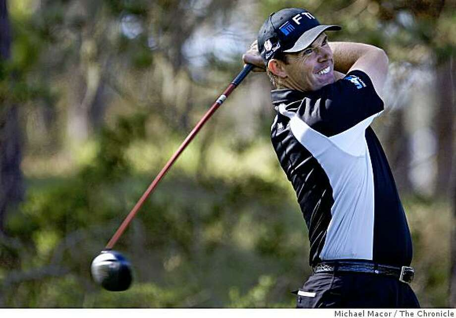 Padraig Harrington, watches his tee shot on the 11th hole at Spygall Hill course, during the final day of practice rounds on Wednesday Feb. 11, 2009, during the AT&T Pebble Beach National Pro-Am, in Pebble Beach, Calif.. Photo: Michael Macor, The Chronicle