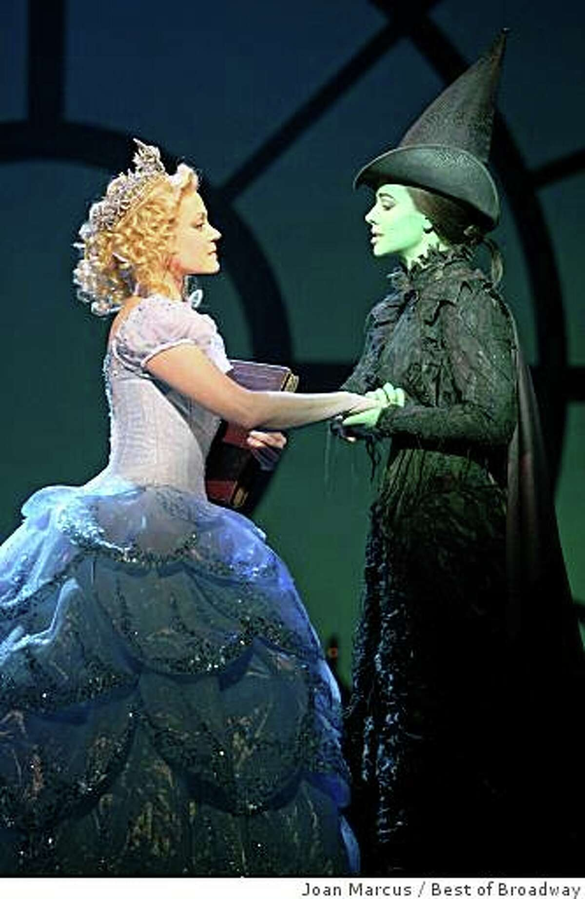 """Kendra Kassebaum (left) is Glinda and Teal Wicks is Elphaba in the touring version of """"Wicked."""""""