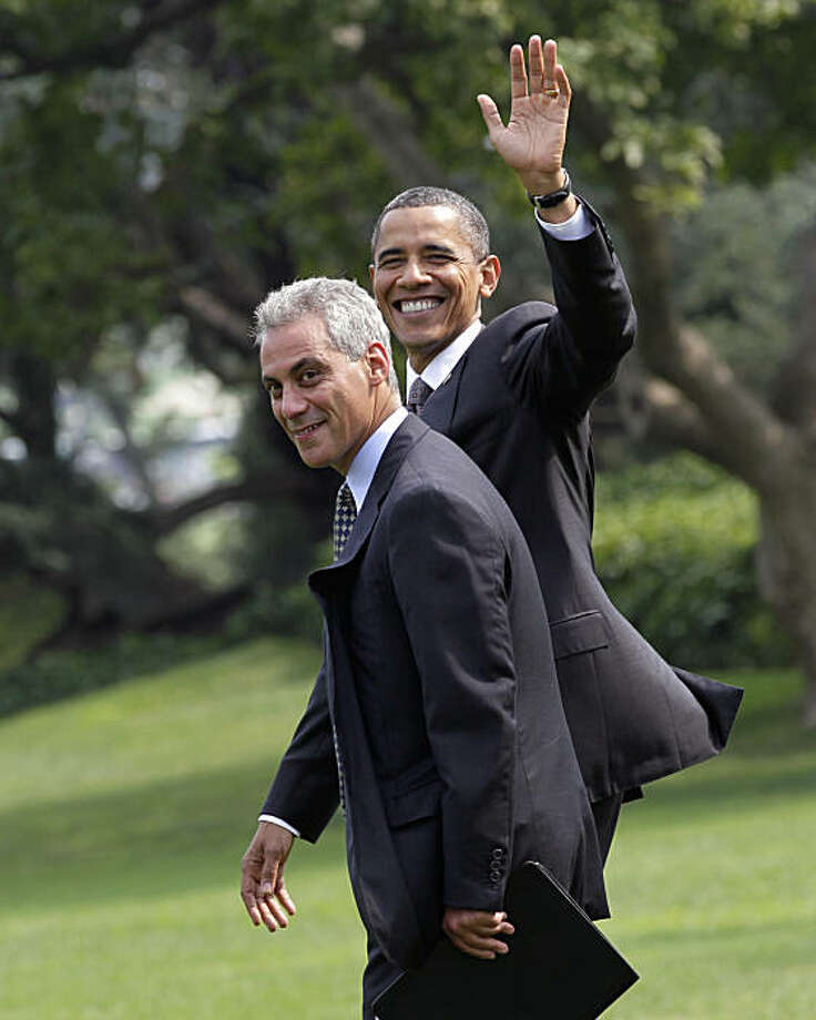 FILE - In this Aug. 4, 2010 file photo, President Barack Obama waves as he walks with White House Chief of Staff Rahm Emanuel to board his helicopter on the South Lawn of the White House in Washington for a short flight to Andrews Air Force Base then to Chicago. The two people familiar with Rahm Emanuel's plans, who spoke on condition of anonymity because they did not want to pre-empt Emanuel's announcement, said Thursday, Sept. 30, 2010, that he will resign as White House chief of staff on Friday, and will begin his campaign for Chicago mayor by meeting with voters in the city on Monday. Photo: J. Scott Applewhite, AP
