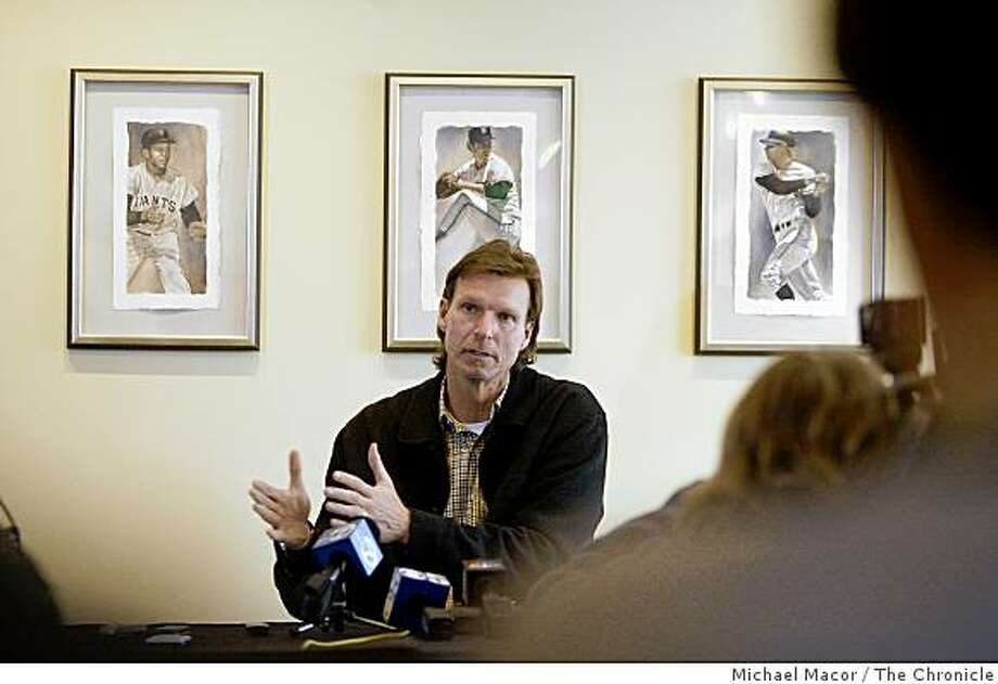 The San Francisco Giants newly acquired pitcher Randy Johnson,  at AT&T park in San Francisco, Calif. on Saturday, Feb. 7, 2009, as a new season of baseball is ready to get underway. Photo: Michael Macor, The Chronicle