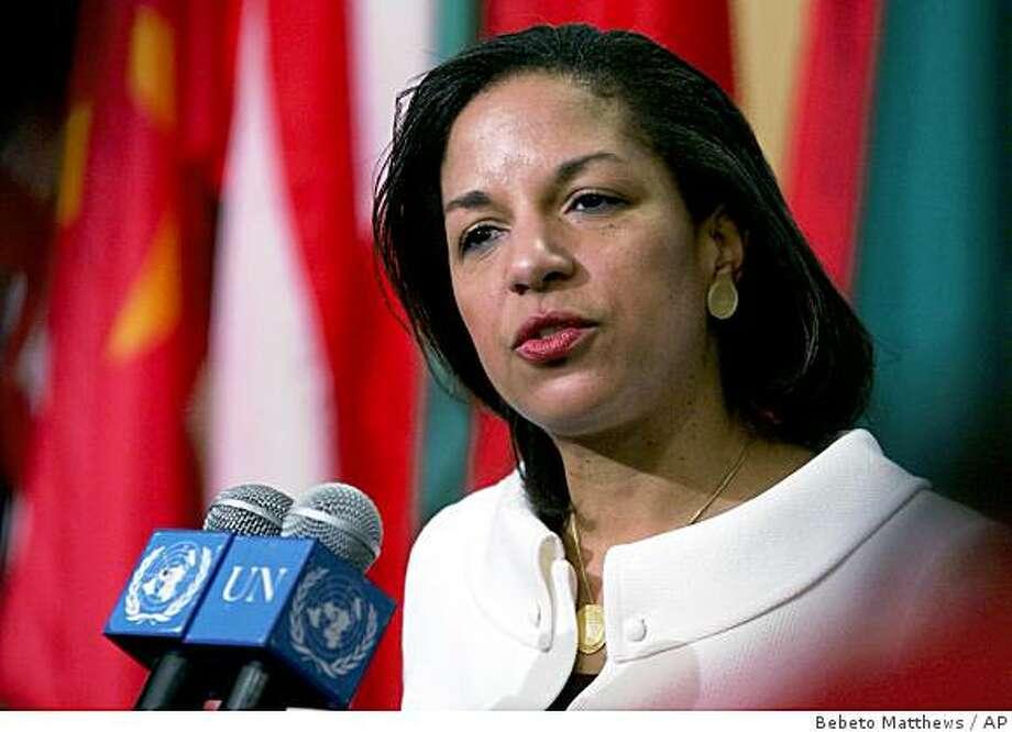 Susan Rice, the new U.S. Ambassador to the United Nations, speakS during her first official press briefing at the United Nations in New York, Monday Jan. 26, 2009.  (AP Photos/Bebeto Matthews) Photo: Bebeto Matthews, AP