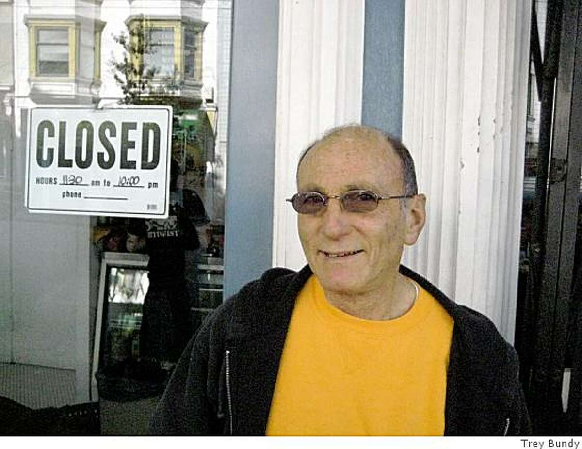 Burt Manaster, 70, waiting outside Rosamunde's Sausage Grill at Haight and Fillmore streets.