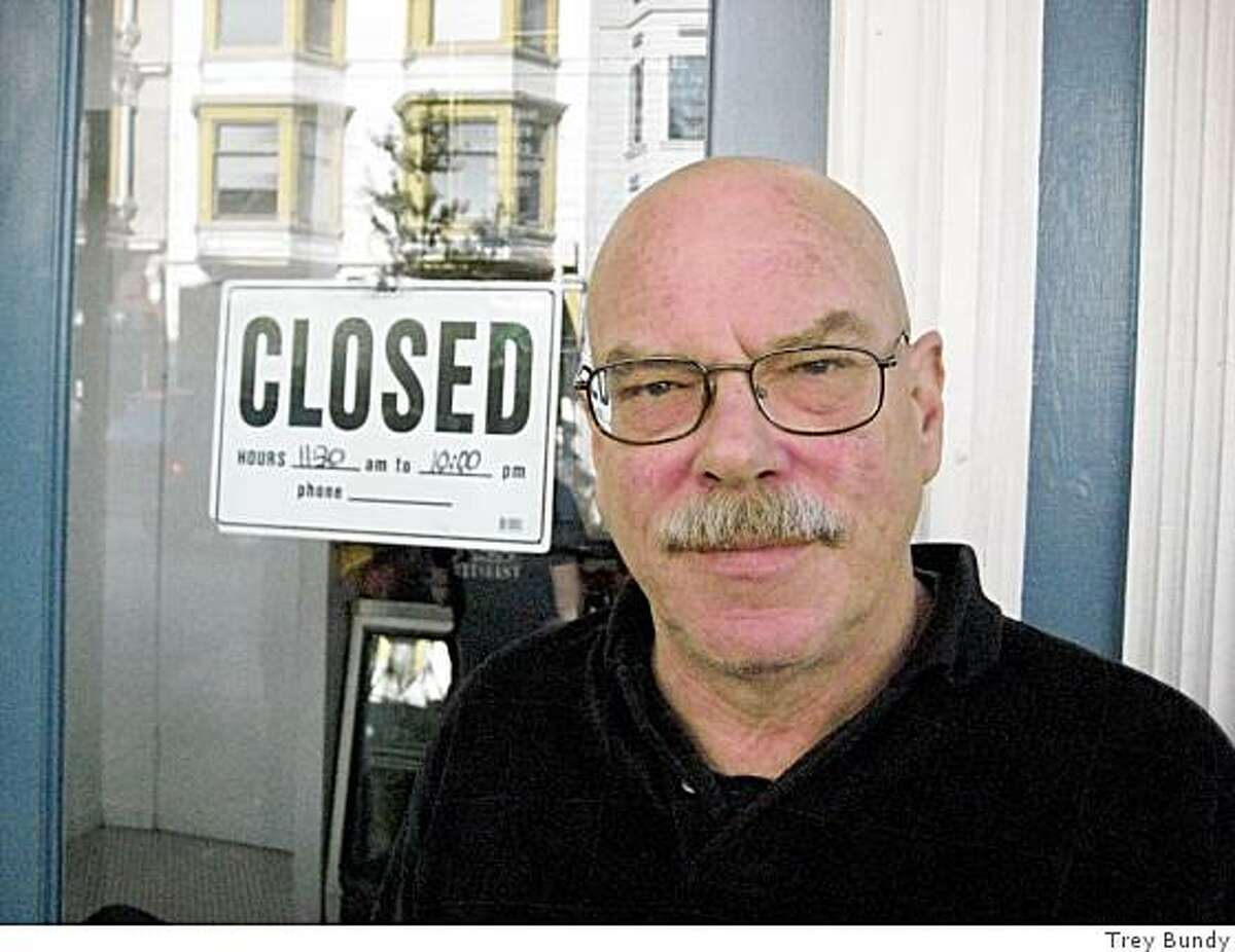 Gene Kettner, 59 waiting outside Rosamunde's Sausage Grill at Haight and Fillmore streets.