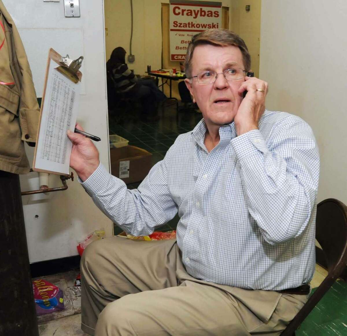 Bethel's Republican candidate for First Selectman, Larry Craybas, continues to make calls at the Republican Headquarters on election night, Tuesday, Nov. 3, 2009.