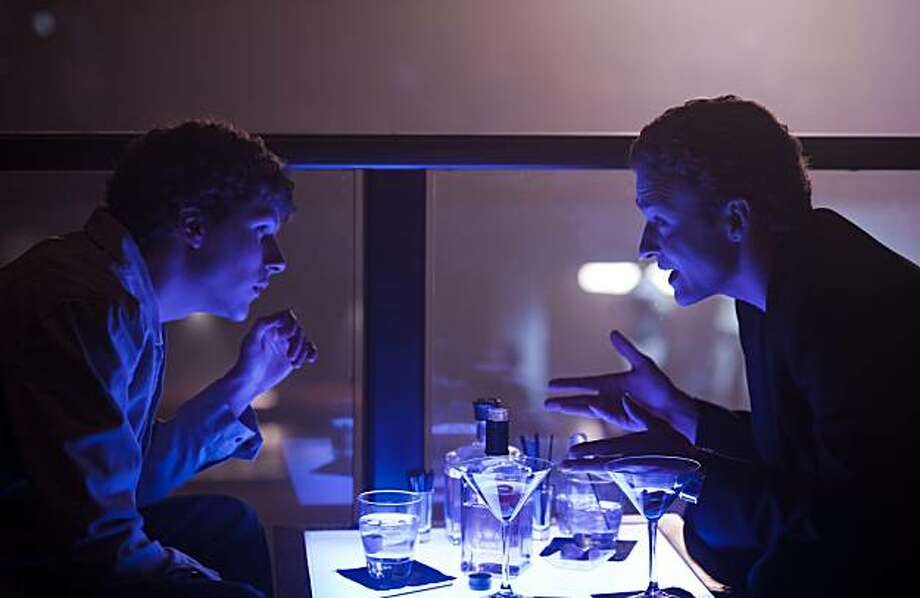 "Jesse Eisenberg, left, and Justin Timberlake in Columbia Pictures' ""The Social Network."" Photo: Merrick Morton, Columbia Pictures"