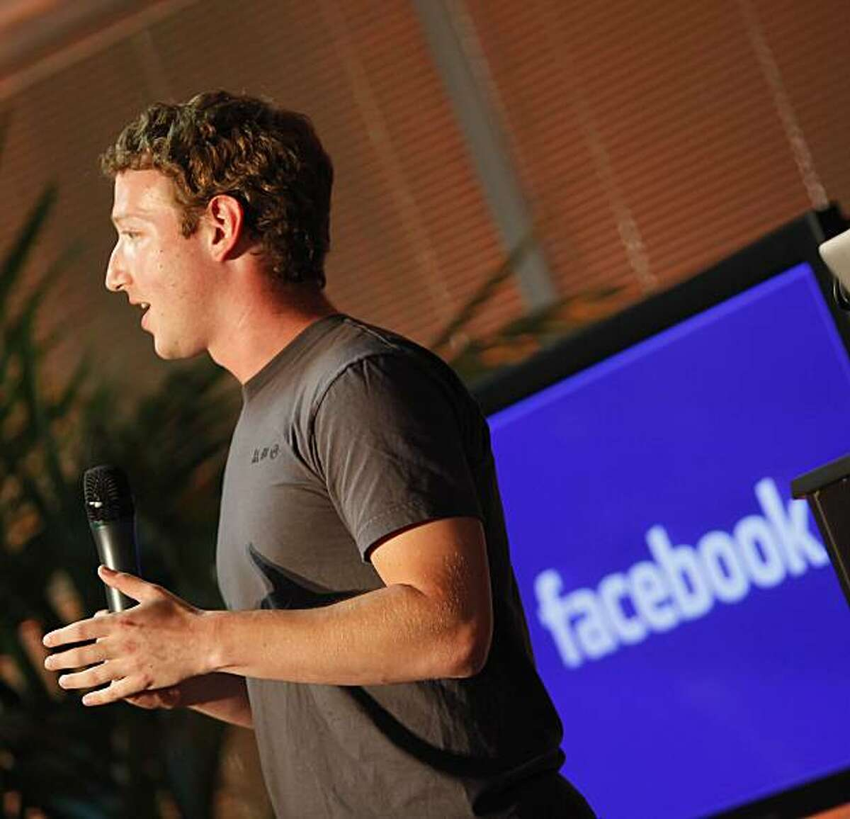 """Facebook founder and CEO Mark Zuckerberg speaks during a press conference announciing a new feature of Facebook named """"Places"""" in Palo Alto, Calif. on Wednesday August 18, 2010. Places will allow users to share where you are, see where your friends are and discover new places."""