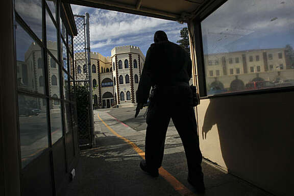 A prison guard at the Eastern entrance into the prison. Officials from San Quentin State Prison held a tour the newly completed Lethal Injection Facility, on Tuesday Sept. 21, 2010 in San Quentin, Calif.