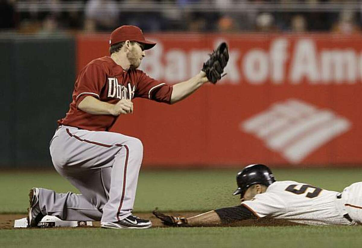 San Francisco Giants' Andres Torres, right, steals second base as Arizona Diamondbacks shortstop Stephen Drew, left, looks on during the first inning of a baseball game in San Francisco, Wednesday, Sept. 29, 2010.
