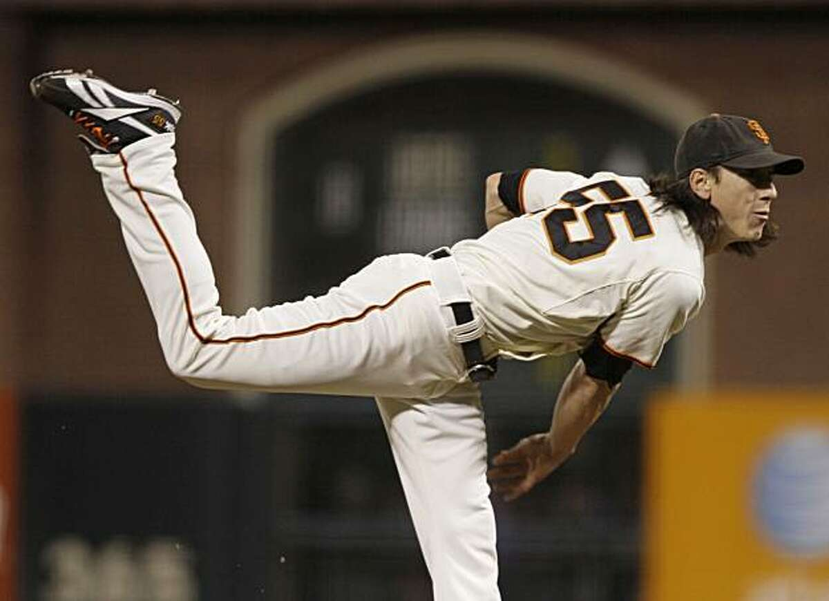 San Francisco Giants starting pitcher Tim Lincecum works against the Arizona Diamondbacks during the first inning of a baseball game in San Francisco, Wednesday, Sept. 29, 2010.