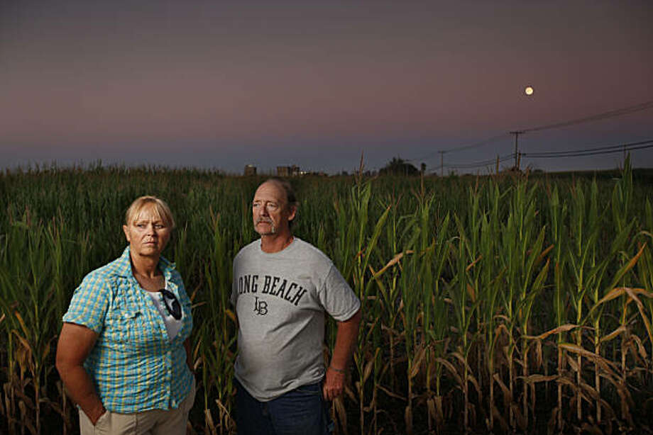 John Sanders and his wife, Rita Sanders by a cornfield between their home and the Hilmar Cheese Company in the distance in Hilmar, Calif., on August  20, 2010. They live near the Hilmar Cheese Company that allegedly dumps contaminated water into nearby fields and polluting the drinking water of people who live in the area. Photo: Craig Lee, Environmental Health News