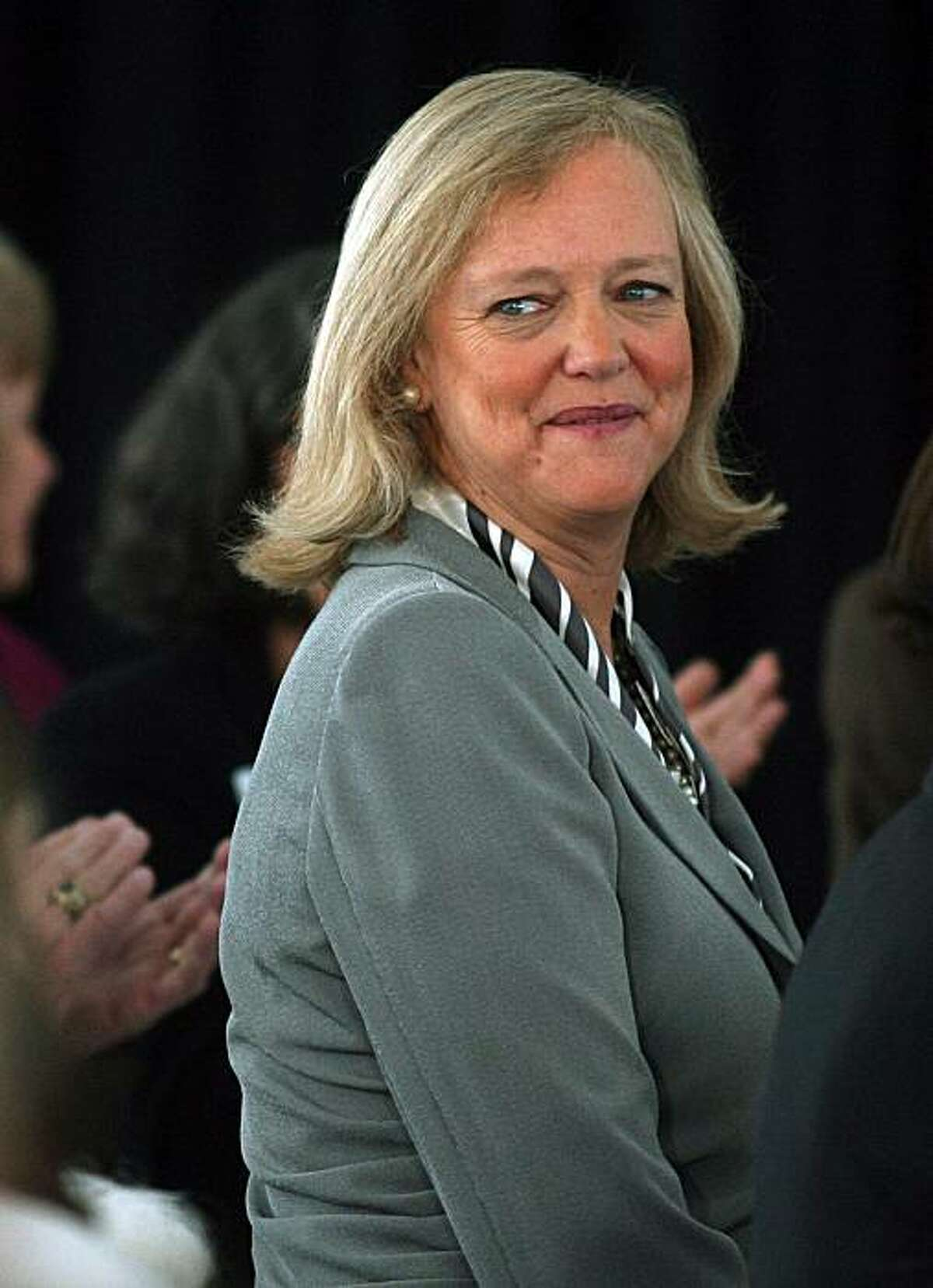 California Republican gubernatorial candidate Meg Whitman arrives at a fund-raising luncheon, Friday, Sept. 24, 2010 in Fresno, Calif.
