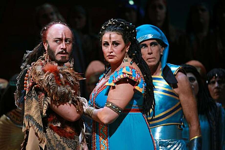 "The final dress rehearsal of Verdi's ""Aida"" with Amonasro played by Marco Vratogna (left) and Aida played by Micaela Carosi (right)  at the War Memorial Opera House in San Francisco, Calif., on Tuesday, September 7, 2010. Photo: Liz Hafalia, The Chronicle"