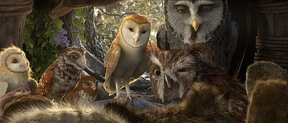 """(L-r) Eglantine, voiced by ADRIENNE deFARIA, Digger, voiced by DAVID WENHAM, Gylfie, voiced by EMILY BARCLAY, Soren, voiced by JIM STURGESS, Ezylryb, voiced by GEOFFREY RUSH and Twilight, voiced by ANTHONY LaPAGLIA in Warner Bros. Pictures' and Village Roadshow Pictures' family fantasy adventure """"LEGEND OF THE GUARDIANS: THE OWLS OF GA'HOOLE"""", a Warner Bros. Pictures release. Photo: Courtesy Of Warner Bros. Picture"""