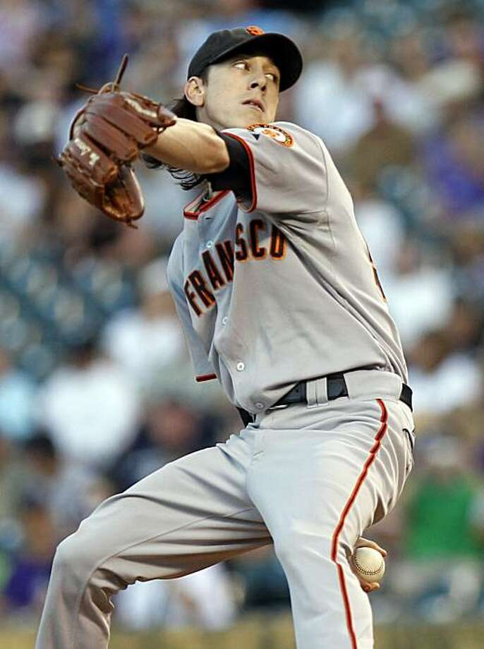 San Francisco Giants starting pitcher Tim Lincecum works the first inning of a baseball game against the Colorado Rockies at Coors Field in Denver on Friday, Sept. 24, 2010. Photo: Ed Andrieski, AP