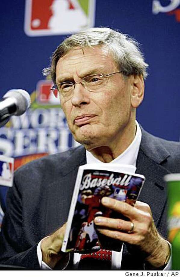 ** FILE ** In this Oct. 27, 2008, file photo, Baseball commissioner Bud Selig speaks to reporters at a news conference after Game 5 of the baseball World Series between the Tampa Bay Rays and Philadelphia Phillies in Philadelphia. Selig's compensation was listed at $17,470,491 for the 12 months that ended Oct. 31, 2007, making his compensation higher than all but three of his sport's players in 2007. (AP Photo/Gene J. Puskar, File) Photo: Gene J. Puskar, AP