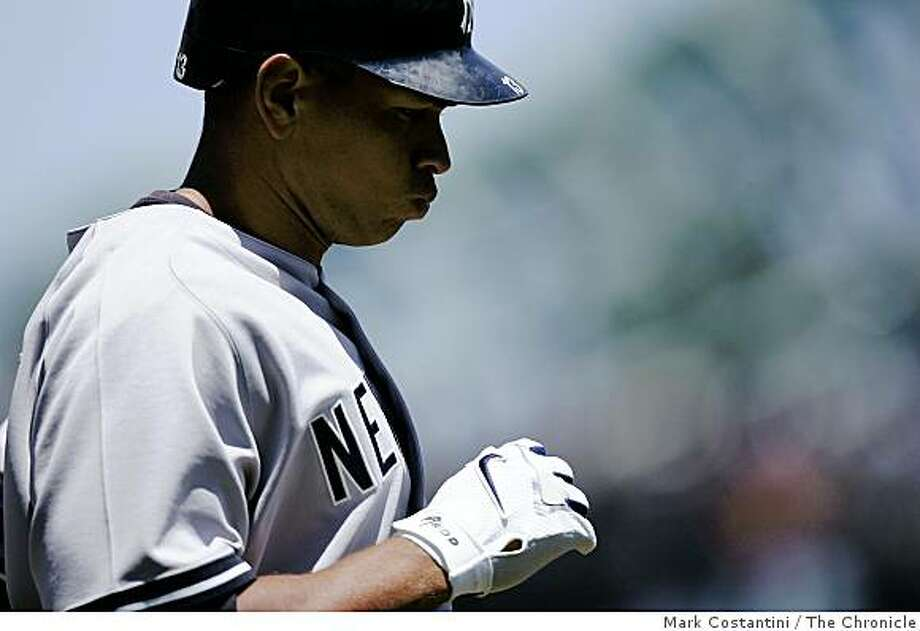 FILE --- Yankees batter Alex Rodriguez grimaces after grounding out in the 1st inning during a game against the San Francisco Giants at AT&T Park in San Francisco, Calif., on June 24, 2007. Photo: Mark Costantini, The Chronicle