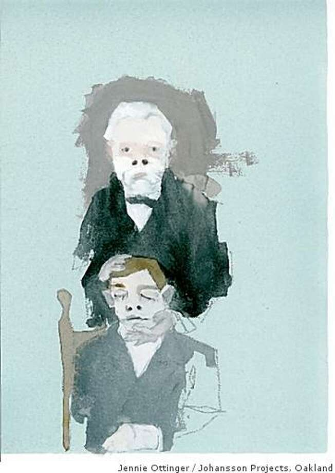 """Man with Dead Guy"" (2008) Gouache and graphite on clay paper by Jennie Ottinger11"" x 8"" Photo: Jennie Ottinger, Johansson Projects, Oakland"