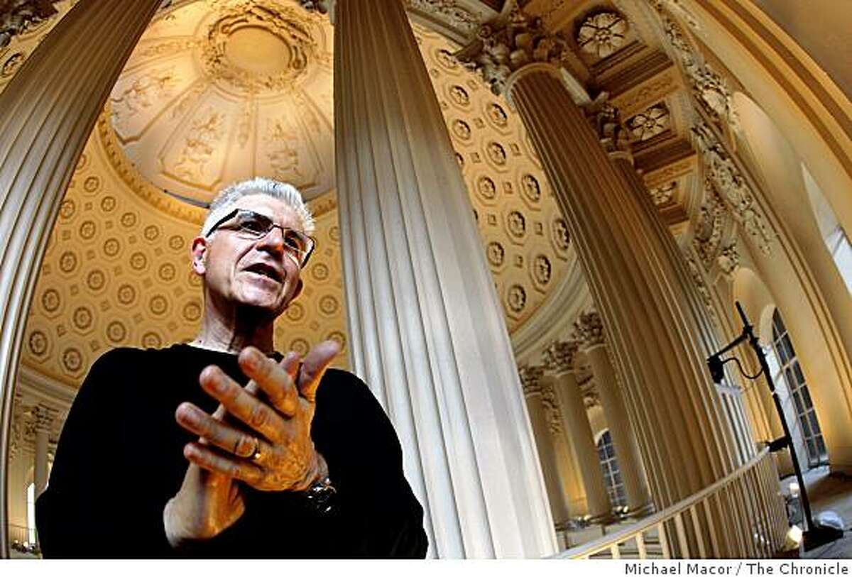 """Sound sculptor Bill Fontana is installing a new work in the rotunda of San Francisco city hall, on Thursday Feb. 5, 2009, called """"Spiraling Echoes,'' a mixture of urban sounds -- birds, the crack of a bat, fog horns, crowd noises -- with historical recordings."""