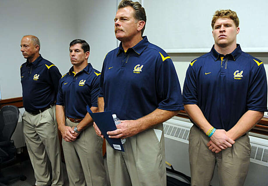 From left:  Director of Operations Jerry Figone, Coach Tom Billups, Head Coach Jack Clark and Jason Law of the rugby team listen as Chancellor Robert Birgeneau and Cal Athletics Director Sandy Barbour announced the elimination of four teams and a reassignment of the rugby team at the Hearst Memorial Mining Building at Berkeley on September 28, 2010. Photo: Susana Bates, Special To The Chronicle