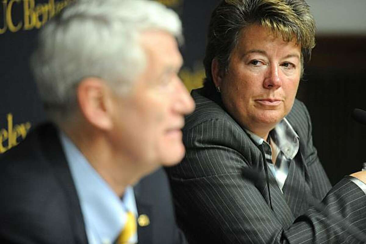 Chancellor Robert Birgeneau (left) and Cal Athletics Director Sandy Barbour announce the elimination of four teams and a reassignment of a fifth at the Hearst Memorial Mining Building at UC Berkeley on Monday.