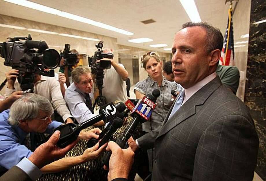 State Senate President Pro Tem Darrell Steinberg, D-Sacramento, talks with reporters after budget meeting with Gov. Arnold Schwarzenegger and other legislative leaders on at the Capitol in Sacramento, Calif., Monday, Sept. 27, 2010. Steinberg said they have made progress and have a number of issues to resolve but hopes to be able to bring a spending plan up for a vote next week. Photo: Rich Pedroncelli, Associated Press