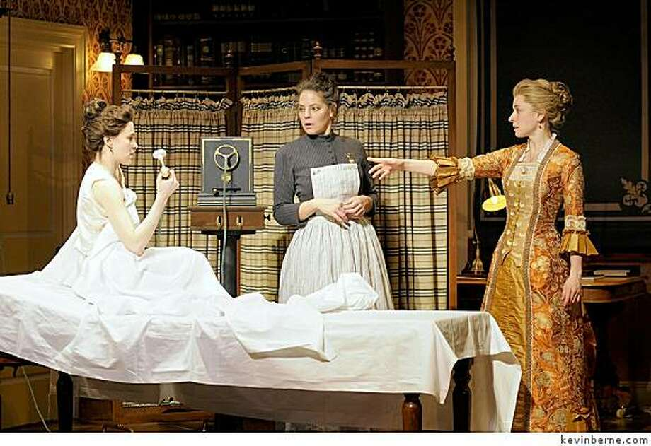 "Maria Dizzia (left), Stacy Ross and Hannah Cabell discuss a new form of medical therapy in Sarah Ruhl's ""In the Next Room"" at Berkeley Rep. Photo: Kevinberne.com"