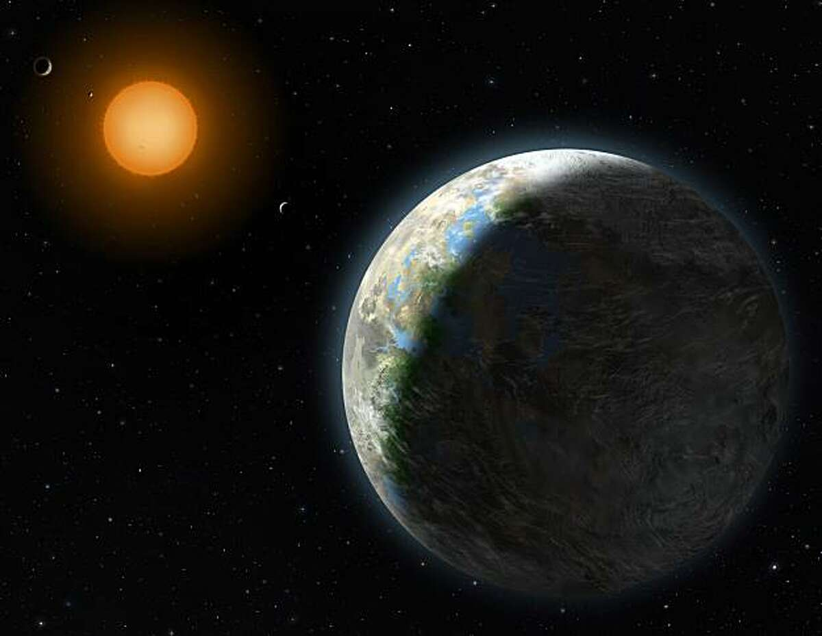 This undated handout artist rendering provided by Lynette Cook, National Science Foundation, shows a new planet, right. Astronomers have found a planet that is in the Goldilocks zone _ just right for life. Not too hot, not too cold. Not too far from its sun, not too close. And it is near Earth _ relatively speaking, at 120 trillion miles. It also makes scientists think that these examples of habitable planets are far more common than they thought.