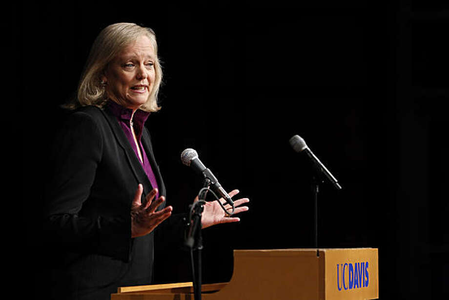 Meg Whitman addresses the media after the gubernatorial candidates took the stage for their first debate Tuesday at UC Davis. Photo: Carlos Avila Gonzalez, The Chronicle