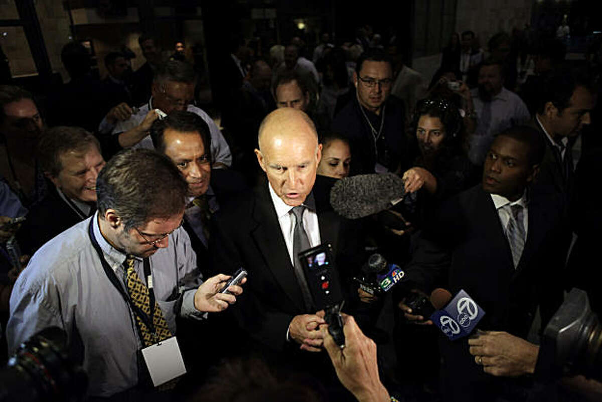 Jerry Brown addresses the media after the gubernatorial candidates took the stage for their first debate Tuesday at UC Davis.