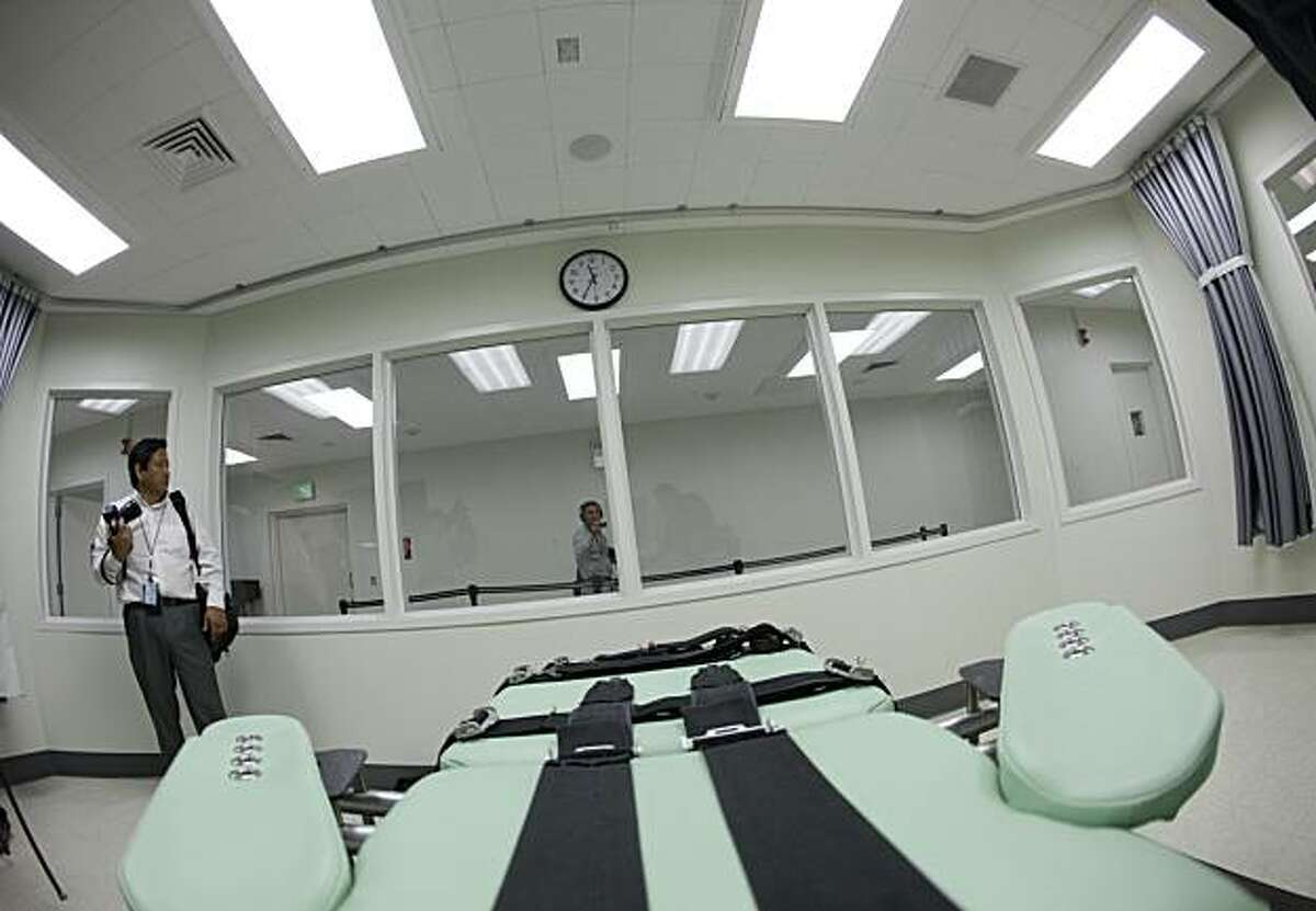 Shown is the view a condemned inmate would have from a table inside the death chamber of the new lethal injection facility at San Quentin State Prison. The facility cost $853,000 and the work was performed by the inmate ward labor program.