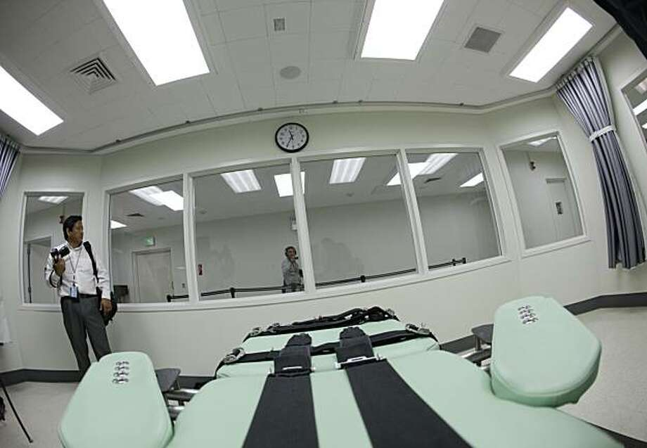 Shown is the view a condemned inmate would have from a table inside the death chamber of the new lethal injection facility at San Quentin State Prison. The facility cost $853,000 and the work was performed by the inmate ward labor program. Photo: Eric Risberg, AP