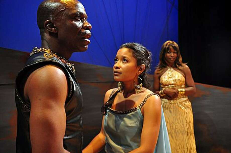 "Agamemnon (L. Peter Callender, left) explains to his daughter Iphigeneia (Traci Tolmaire) and wife Klytaimnestra (C. Kelly Wright) why he's decided to let Iphigeneia be sacrificed in Colin Teevan's ""Iph..."" -- African-American Shakespeare Company and Brava Theater Photo: Charlie Villyard"