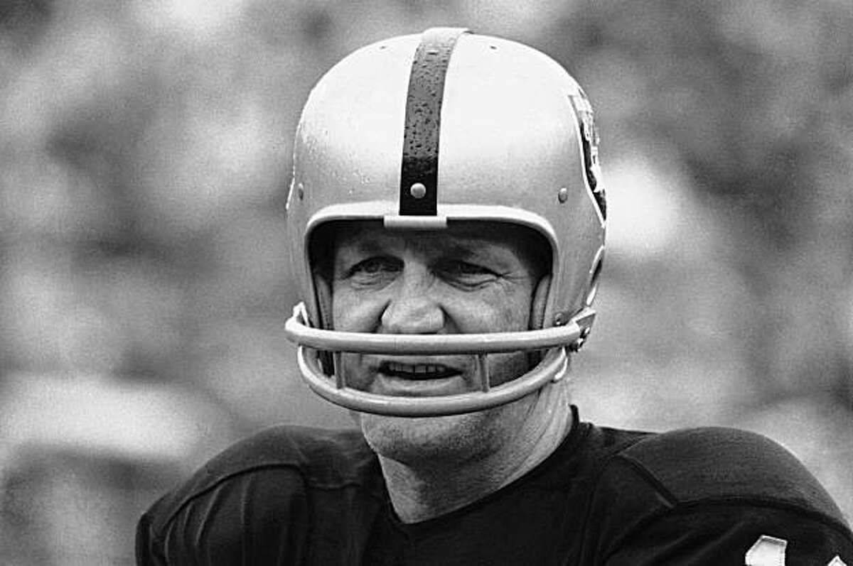 This Jan. 11, 1971 file photo shows George Blanda, sub quarterback and kicking specialist of the Oakland Raiders. The Oakland Raiders say Hall of Fame quarterback George Blanda has died, Monday, Sept. 27, 2010. He was 83.