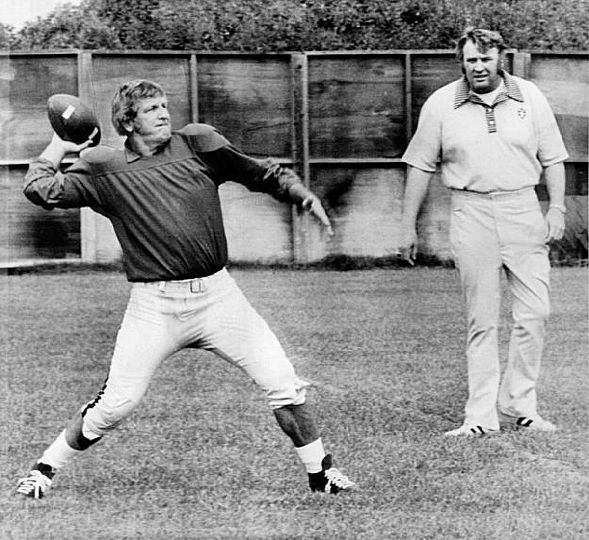 Going strong at age 48. Veteran quarterback and kicker George Blanda of the Oakland Raiders gets set to toss the ball during practice on Wednesday in Oakland, under the watchful eye of head coach John Madden. Wednesday was Blanda's 48th birthday. He's entGoing strong at age 48. Veteran quarterback and kicker George Blanda of the Oakland Raiders gets set to toss the ball during practice on Wednesday in Oakland, under the watchful eye of head coach John Madden. Wednesday was Blanda's 48th birthday. He's entering his 26th pro season and is just 81 points shy of becoming the first 2,000 point scorer in pro football history. Photo was taken September 18, 1975.