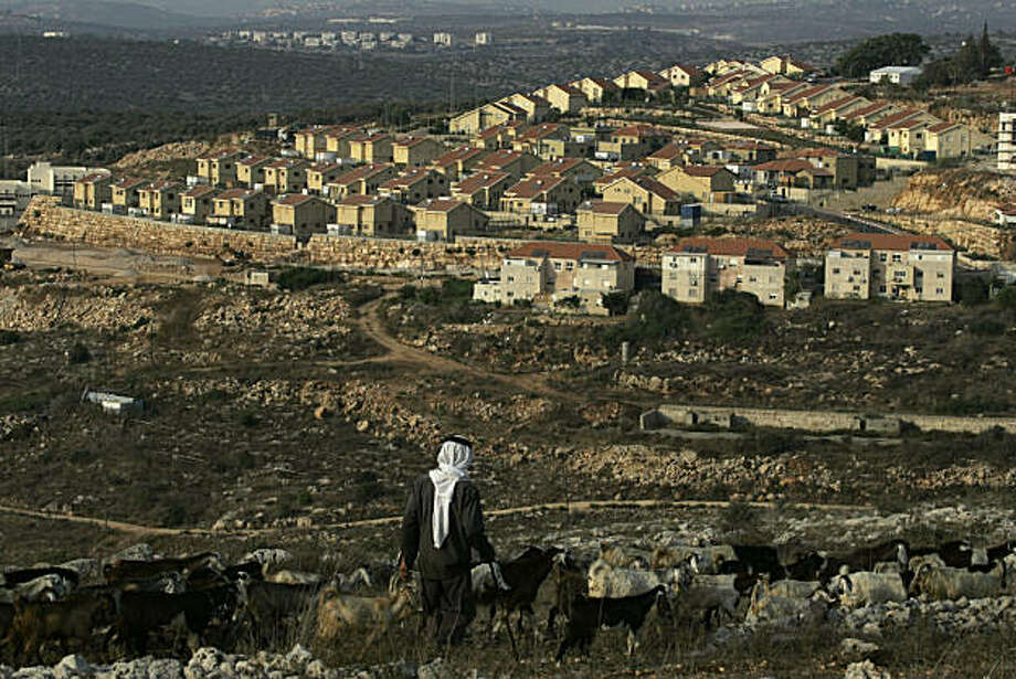 """A Palestinian shepherd walks near the Jewish settlement of  Revava, near the West Bank Village of Salfit, Saturday, Sept. 25, 2010. Danny Danon, a pro-settler lawmaker in Netanyahu's Likud Party, said Saturday that settlers have already moved equipment into the Revava settlement in the northern West Bank. He said activists would lay the cornerstone for a new neighborhood on Sunday, the last day of the slowdown, and planned additional construction Monday after the restrictions formally end.""""Building will begin there tomorrow afternoon and continue there on Monday,"""" Danon said. Photo: Nasser Ishtayeh, AP"""