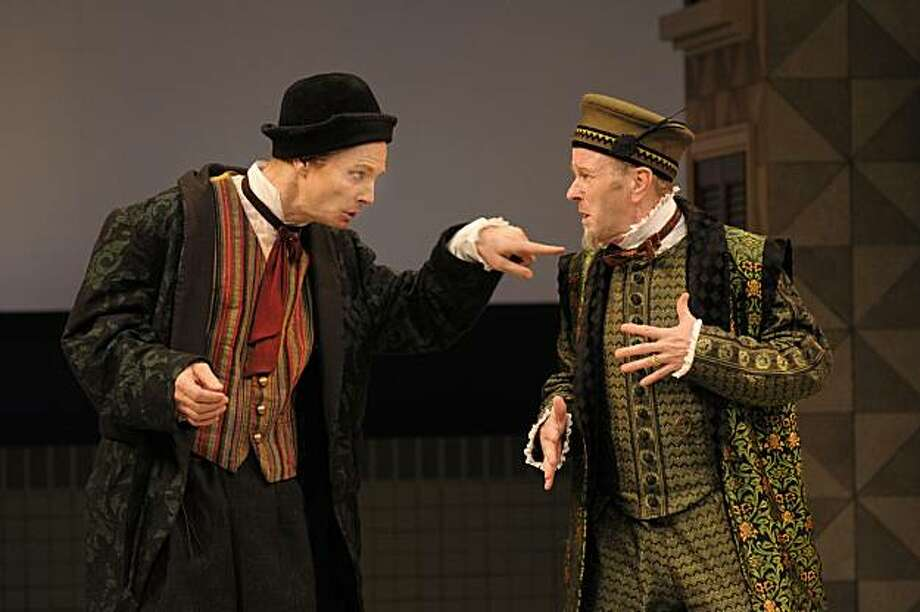 "Bill Irwin (left) in the wily servant title role of ""Scapin"" tries to get money from his master Geronte (Geoff Hoyle) at ACT Photo: Kevin Berne"